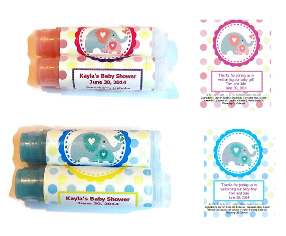 Baby Shower Favors Uk ~ Elephant baby shower lip balm favors