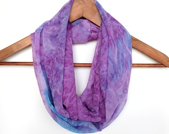Tie Dye Scarf, Chiffon Scarf, Purple and Teal Scarf, Infinity Scarf, Gift For Her, Lightweight Scarf, Sheer Scarf, Summer Infinity Scarf
