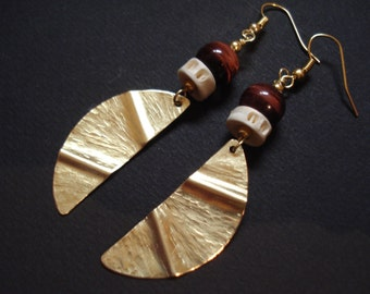 Hammered Bronze Tigereye Earrings Fold Formed Crescent  Earrings  Contemporary Metalwork Earrings