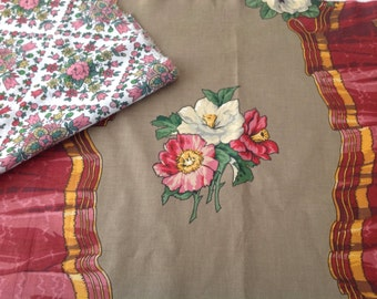 2 Pieces of vintage fabric for projects craft cushions sewing