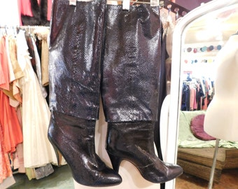 Navy Blue real snakeskin boots Size 6