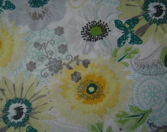 Yellow & Turquoise Floral Cotton Fabric Sold by the Yard