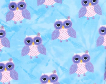 Anti-Pill Tie Dye Owl Turquoise Fleece Fabric Sold by the Yard