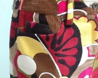 90's Corderoy Skirt, Etcetera, Flowered Cotton Corderoy