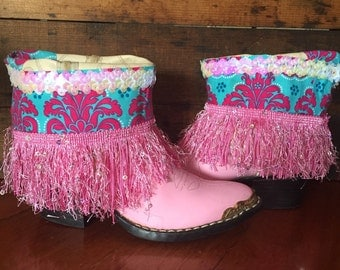 Upcycled pink western cowgirl boots size 13 1/2