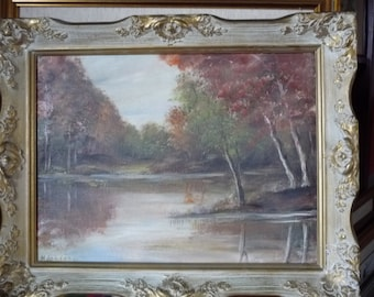 "Old Vintage Forest Scene, Forest Sanctuary, Vintage Early Autumn Oil Painting,  by M. Jordan ""Forest Path"" 1970's"