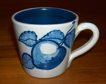 Vintage Original Handmade Hand-painted Dorchester Pottery Apple and Leaves Design Cup with Blue Swirl Inside - Signed CAH -1950s