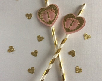 Gold Paper Party Straws 10 CT. Gold & Pink decoration. Paper Straws. Baby Shower Supplies