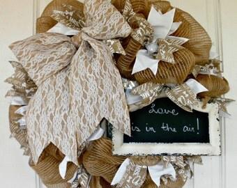 Wedding Wreath, Bridal Shower Wreath, Chalkboard Wreath, Burlap Wreath, Shabby Chic, Spring Wreath, Summer Wreath, Wedding Shower Wreath