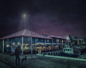 "Canvas Print 'The Hobart Docks' Tasmania Framed Ready To Hang 20"" x 30"" Free Postage"