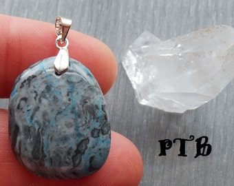 """Stability ~ Authentic Blue Crazy Lace Agate Gemstone 1 1/4"""" Pendant 100% Solid 925 Sterling Silver"""