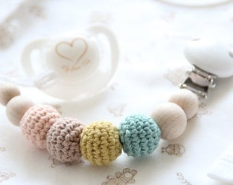 Natural baby pacifier clip / Stylish dummy holder / Teething beads