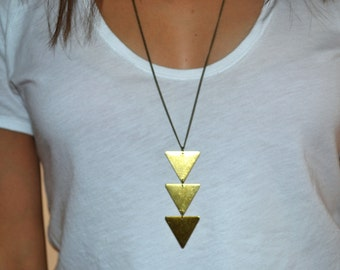 3 Triangles necklace - boho Jewelry - Brass triangle