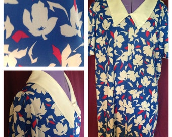 70's blue polyester dress with flower pattern size 14 - 16 (uk)