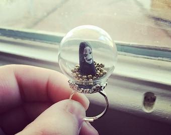 No face BIG EDITION studio ghibli spirited away adjustable globe dome terrarium bubble glass anime ring