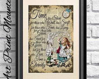 Alice in Wonderland Print, Love Quote, Dictionary Book Page Alice, Valentine Gift Print, Wall Decor, Unique Gift