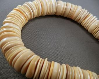 Melon Shell Heishi Beads - 8-10mm - 16 Inch Strand