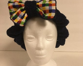 Navy Rainbow Checked Foofie Spa Headband- holds back hair when washing your face