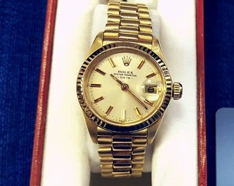 Ladies 18k Yellow Gold President Rolex Watch, Vintage Watch, Fits 6.5 Inch Wrist, Genuine Rolex, Keeps Time, Bubble Glass Over Date