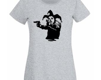 Womens T-Shirt with Banksy Street Art Graffiti Design / Joker Clown with Pistols Shirts / Jester Tee Shirt + Free Random Decal Gift