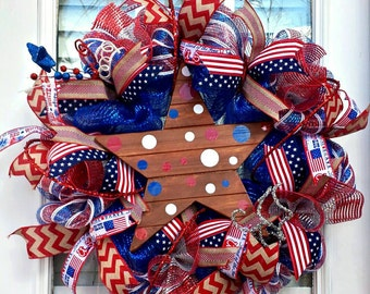 Fourth of July Wreath~Patriotic Deco Mesh Front Door Wreath~ Red White and Blue Large Star Wreath~