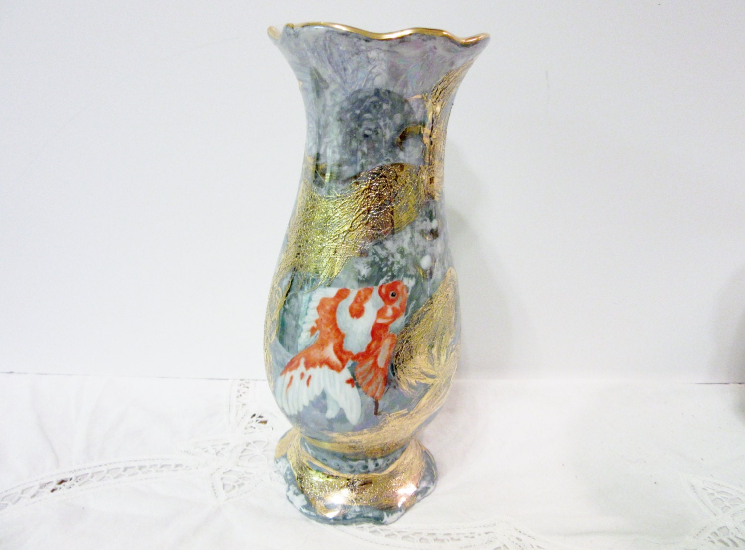 asian koi fish vase gold fish koi with luster and gold trim