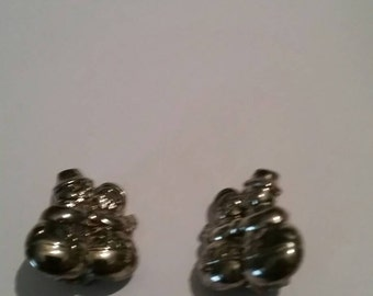 Vintage Silver Snowman Earrings Christmas Holiday Costume Jewelry