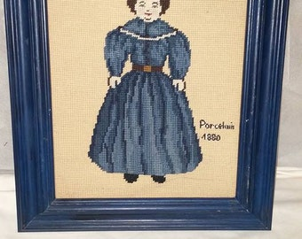 Vintage Needlepoint of Doll in Blue