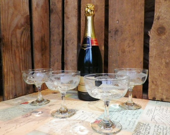 Champagne Saucers a set of four 1950s vintage etched glass champagne glasses champagne coupes barware
