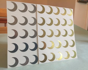 Gold and Silver Crescent Moon Envelope Seals