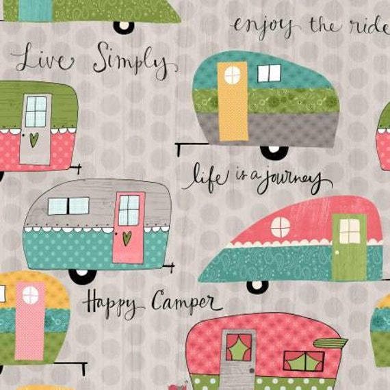On The Road Again Camping Gray Campers Cotton Fabric Last
