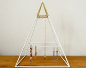 Tall Welded Pyramid Jewelry Organizer in White and Gold - Made to Order