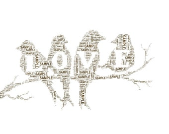 Lovebirds/love/family gifts personalised word art print