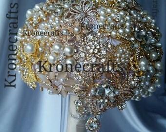 Wedding Alternative Brooch Bouquet. full price great gatsby rose gold bouquet, bouquet de fleur, brooch bouquet, bridal brooch bouquet