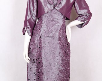 purple dress with openwork lace + blazer size 10