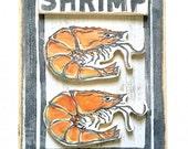 2D Shrimp Art: Wood Sign, New Orleans Art, New Orleans Gift, Seafood Art, NOLA, Crab Art, New Orleans Food, Kitchen Art