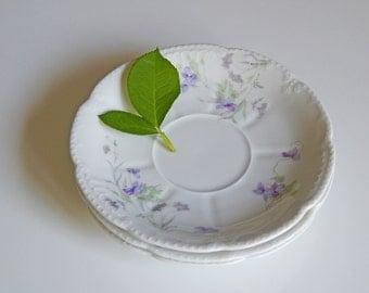 Set of 3 Vintage Floral Saucers/ Scalloped Edge Saucers/ Purple Flower Saucers/ Tea Party Saucer Set/ Bridal Party Saucer Set/ Wedding Plate