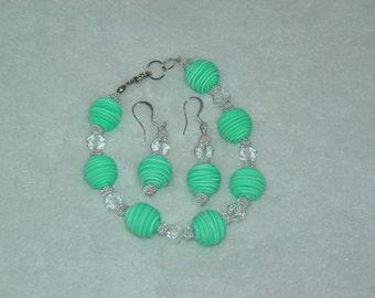 Lime Bead Bracelet & Earrings Set