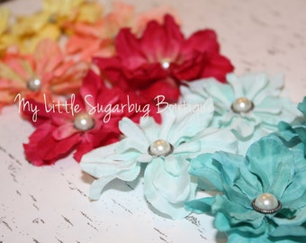 Flower Shoe Clips-Rose Pink-Coral-Yellow-Turquoise-Light Turquoise-Girls-Toddler-Women-Bridal