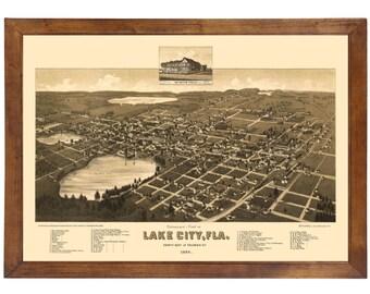 Lake City, FL 1885 Bird's Eye View; 24x36 Print from a Vintage Lithograph
