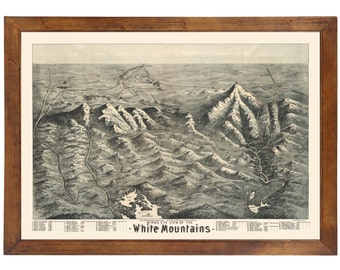 White Mountains of NH & ME 1890 Bird's Eye View; 24x36 Print from a Vintage Lithograph