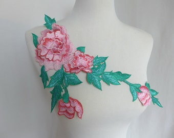 Green and Pink Bridal Appliques, Flower Venice Lace Applique, Bridal Wedding Dress Lace Appliques