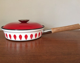 """Mid Century Cathrineholm Norway Real Red Lotus 8.5"""" Frying Pan with Lid"""