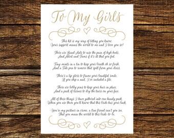 INSTANT DOWNLOAD Printable Gold Bridesmaid Survival Kit Poem Card