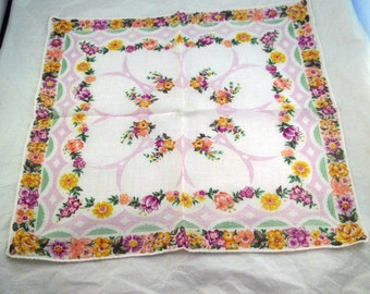 Lovely Vintage Floral Handkerchief