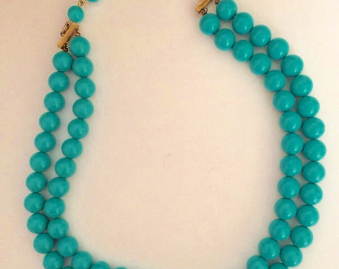 Vintage Patinated Double Strand Short Lucite Beads Beaded Choker Necklace