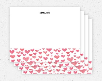 Hearts Thank You Cards - Set of 4