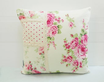 Patchwork Pillow Cover, Shabby Chic Pillow Cover, Quilted Cushion Cover, Quilted Pillow, Fits 16 inch insert_Tanya Whelan Fabrics