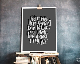 I Say No - Original Poetry, Inspirational Hand lettering & Calligraphy Art, Home or Office Decor, Instant Download Gifts for Her or Him