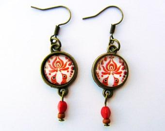 Brown Hungarian Matyó earrings
